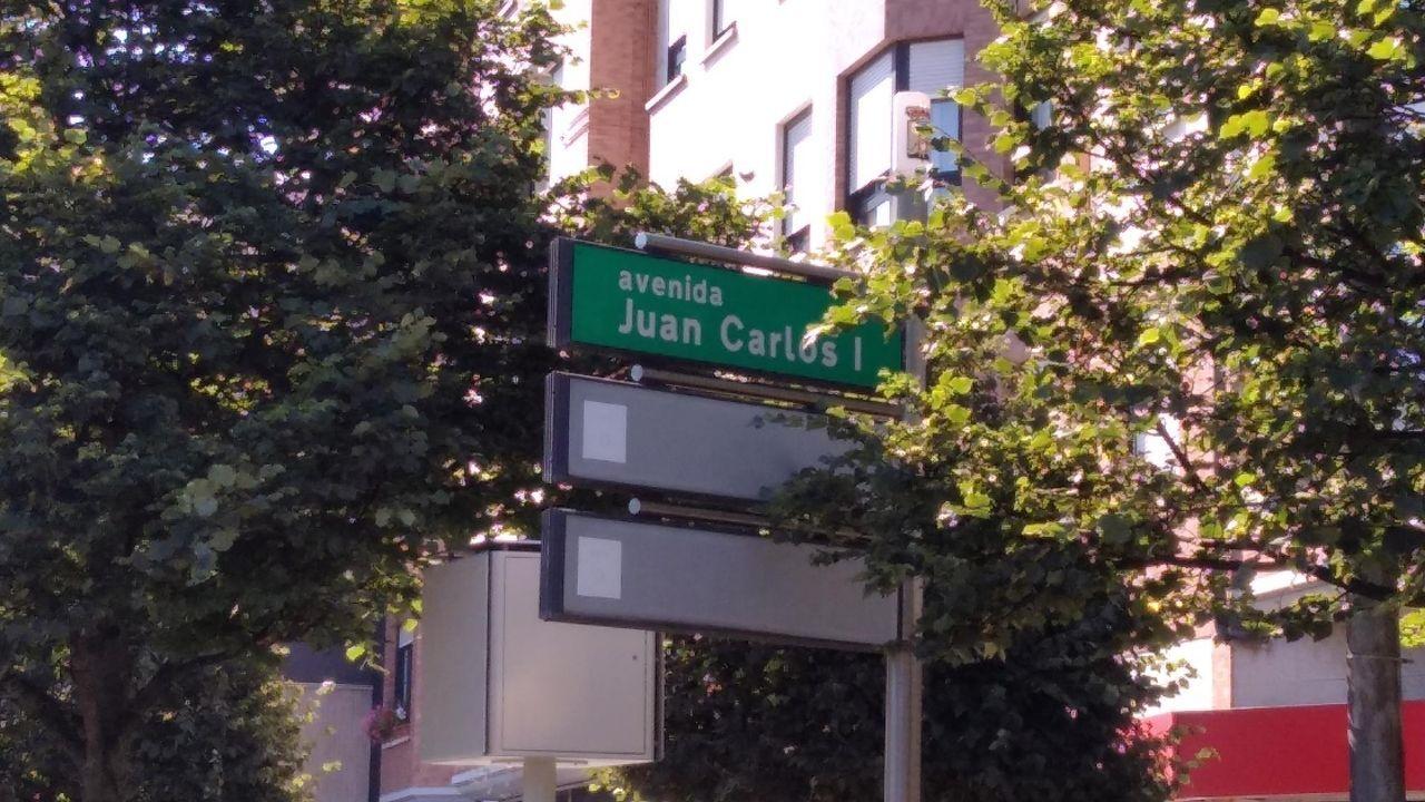 Uno de los letreros de la avenida de Juan Carlos I en Gijón