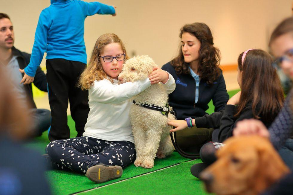 Conexión canina en la sala de espera.El paciente, con ponentes de Tierra de Hombres, Fundación Jove y Chuac.