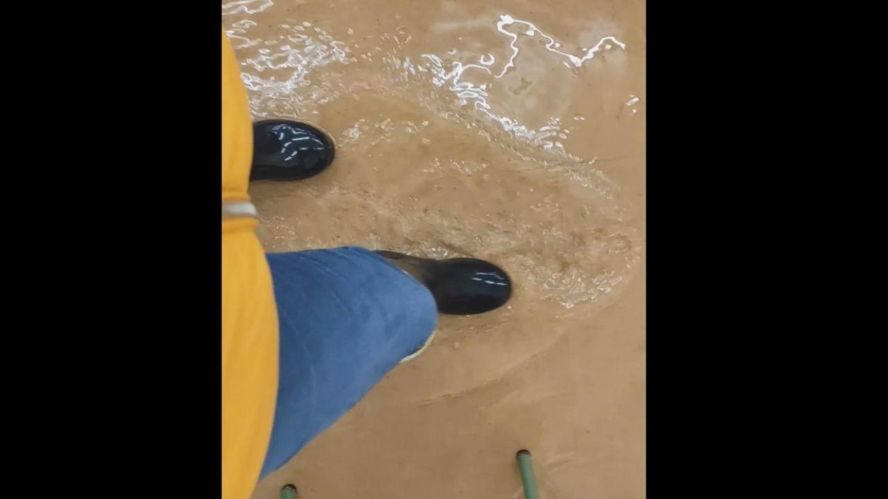 Inundaciones en el colegio de Jove de Gijón.Votaciones, el pasado domingo, en un colegio electoral del sur lucense